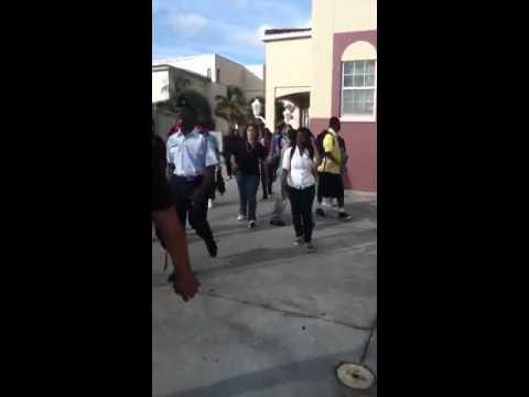 Cayman walking in school