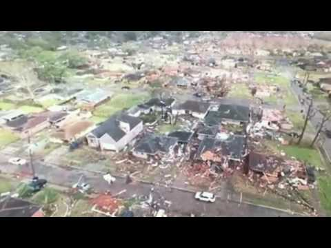Drone video shows tornado damage in New Orleans East