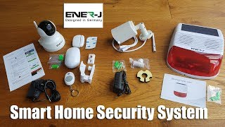 ENER-J WiFi DIY Home Security Alarm System Kit with IP Camera, Wireless Solar Siren