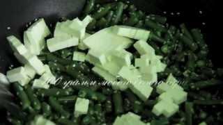 Теплый салат из стрючковой фасоли с сыром