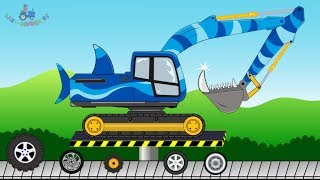 Scary shark Excavator   Toy Factory   Construction vehicles for children - Video for kids #koparki