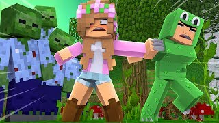 LITTLE LIZARD SAVES LITTLE KELLY FROM ZOMBIES! Minecraft Zombie Escape