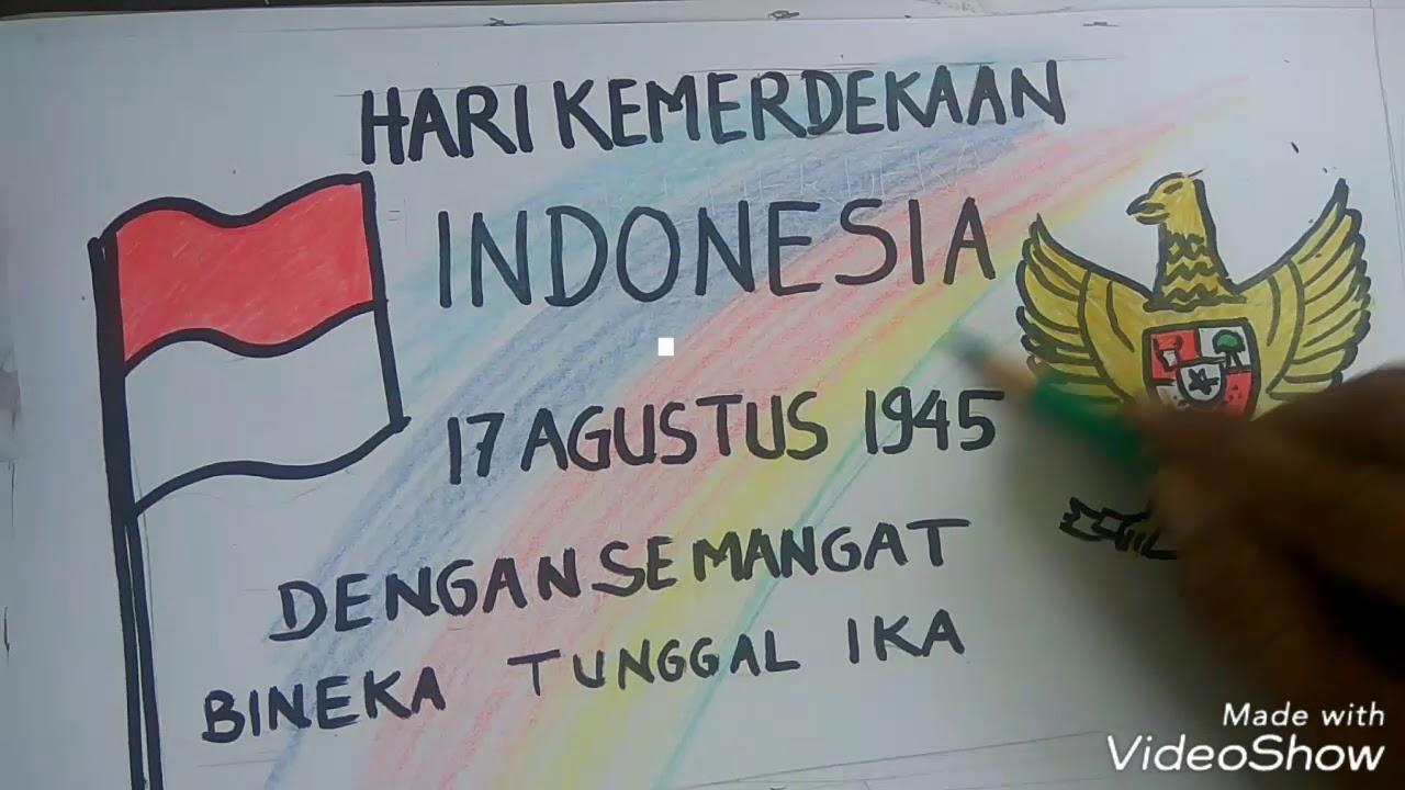 Menggambardan Mewarnai Poster Kemerdekaan Indonesia Dan Garuda