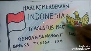 Menggambardan mewarnai poster kemerdekaan Indonesia dan garuda pancasila