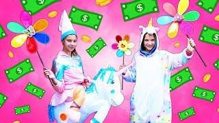 Polen ve Sveta ile para kazanma challenge. Komik çocuk videosu. Unicorn kostümleri