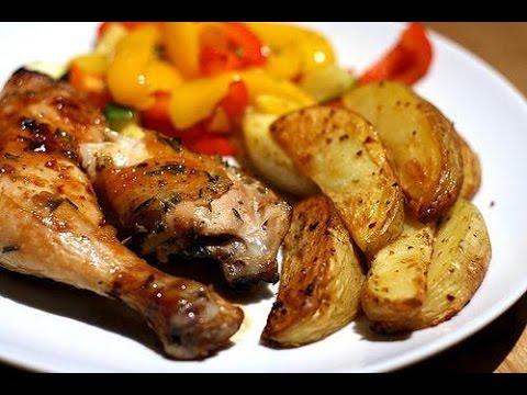 Очень вкусная и нежная курица с картошкой по-деревенски в духовке(ПЕРЕСНЯТ ССЫЛКА В ОПИСАНИИ )