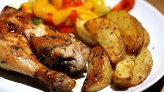 Очень вкусная и нежная курица с картошкой по-деревенски в духовке(ПЕРЕСНЯТО, ССЫЛКА В ОПИСАНИИ)
