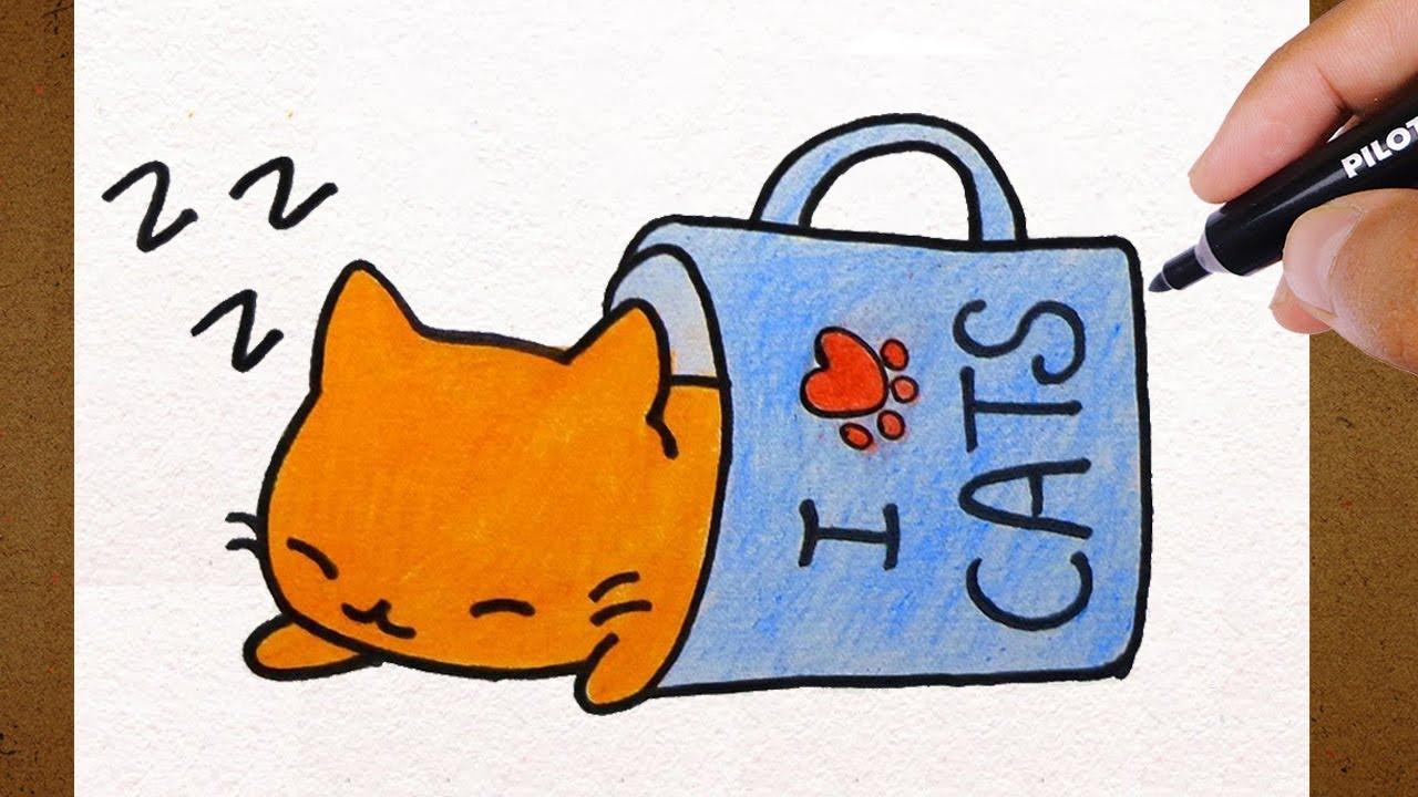 Colorindo E Desenhando Gatinho Kawaii Dormindo I Love Cats
