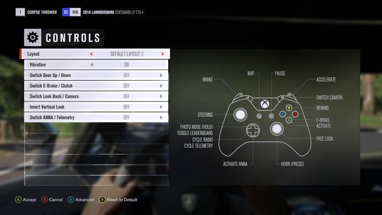 Forza Horizon 3 - Xbox One Controller Button Layout (13 Default Optins)  Brake, Cam, Horn, Anna