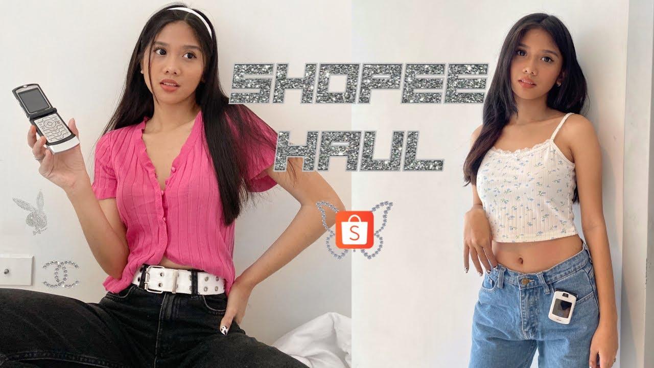 SHOPEE HAUL: y2k aesthetic (flip phone, clothes, accessories, bag)