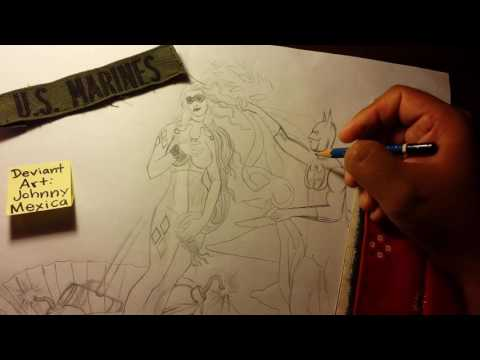 How to draw batman and harley quinn
