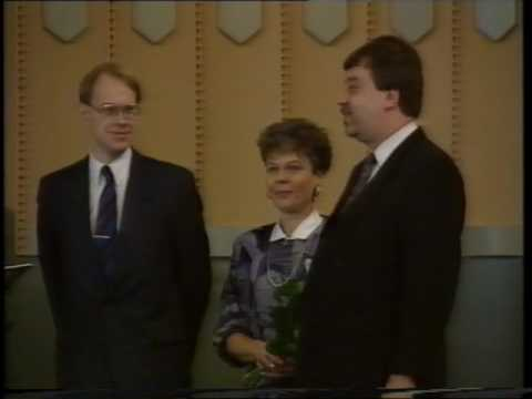 The last Open Outcry trading session ceremony at Helsinki Stock Exchange 30 March 1990