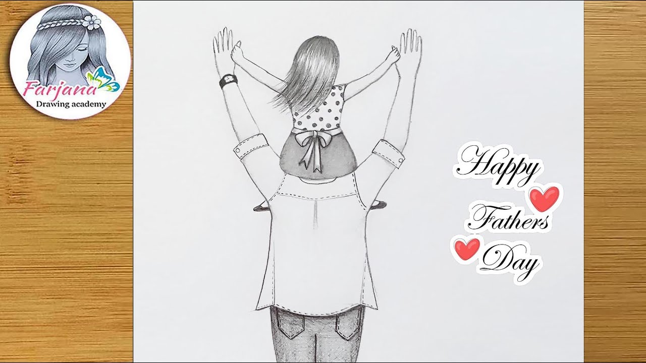 Father's day special drawing || Easy way to draw Father and Daughter -step by step || Pencil sketch