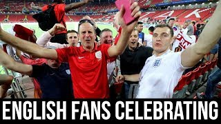 ENGLAND VS COLOMBIA   ENGLISH FANS CELEBRATING   WORLD CUP 2018