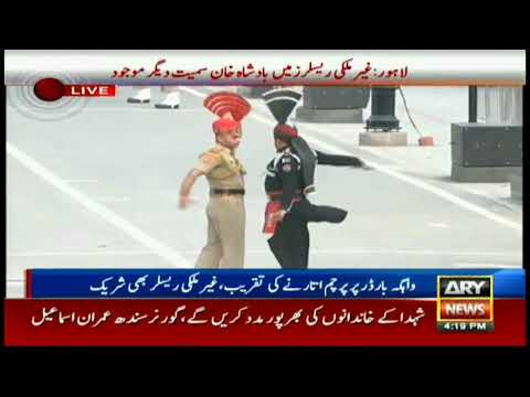 International wrestlers witness flag lowering ceremony at Wagah Border