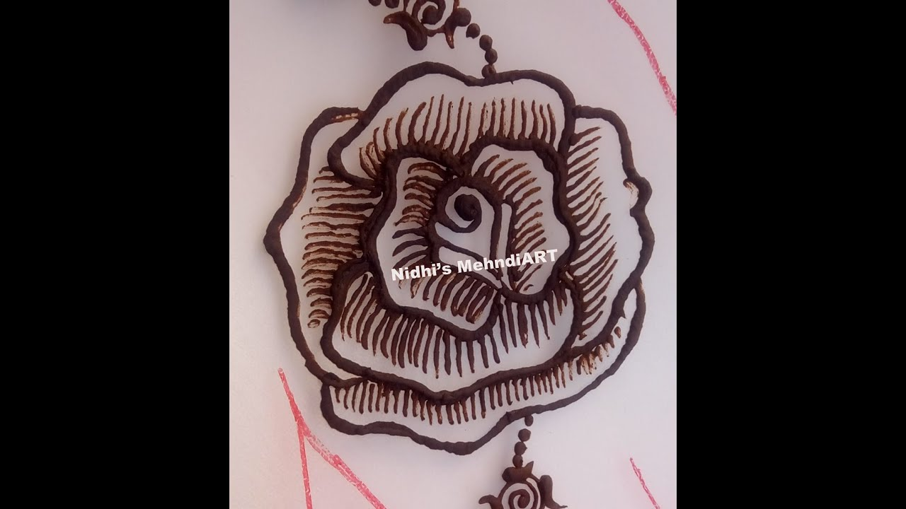Mehndi Flowers Step By Step : How to draw rose flower henna mehndi design step by