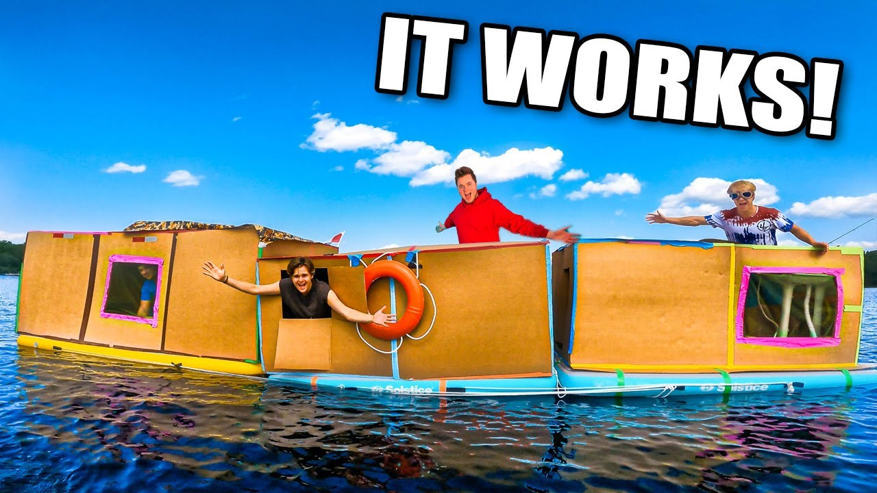 Massive BOX FORT House Boat On A LAKE! Cardboard Boat (24 Hour Challenge)