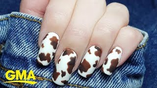 From Ariana Grande to Kendall Jenner, cow print nails are having a major 'moo-ment' l GMA Digital