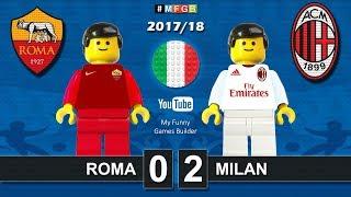 Roma Milan 0-2 • Serie A (25/02/2018) goal highlights sintesi Lego Calcio 2017/18