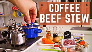 Miniature Cooking Beef Coffee Stew | Mini Real Food in Mini Kitchen Set | ASMR Cooking