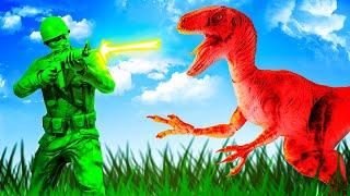 Green Army Men vs DEADLY RAPTOR DINOSAURS - The Mean Greens Plastic Warfare