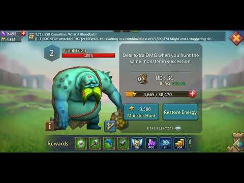 Lords Mobile- Best F2p  Monster Hunting Team For Tidal Titan