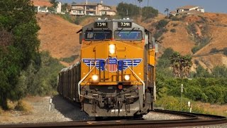 Union Pacific and Amtrak Trains in the Desert: Palm Springs - Colton