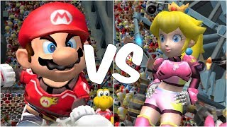 Mario Strikers Charged - Mario vs Peach - Wii Gameplay (720p60fps)