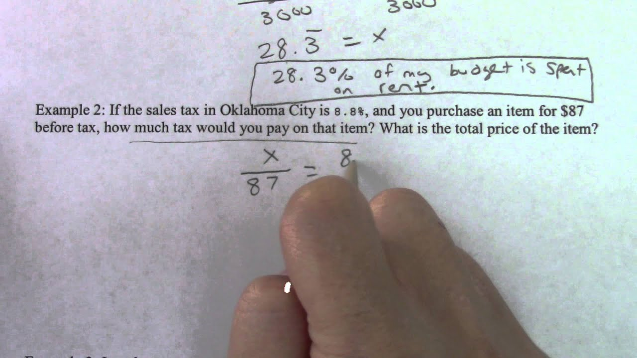 8th Grade Section 2 Video 4 More Percent Proportion Word Problems