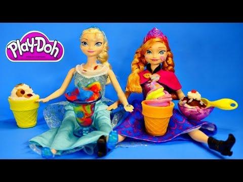 Play Doh - Disney Frozen Elsa Anna Playdough Magic Swirl Ice Cream Shoppe Barbie Doll Episode