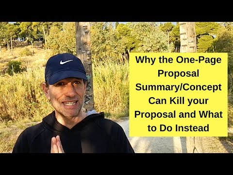 Why the widely adopted One Page Proposal Concept can kill your proposal