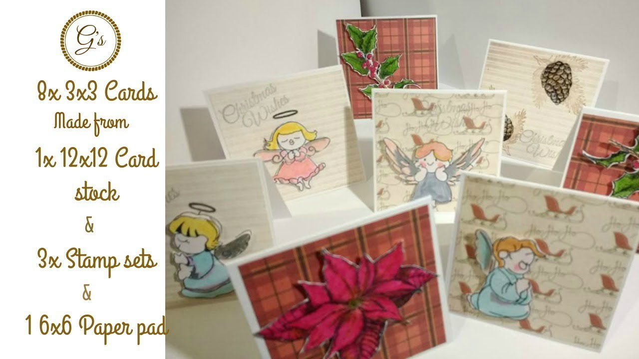 8 3x3 Christmas Card from 1 12x12 Card Stock - YouTube