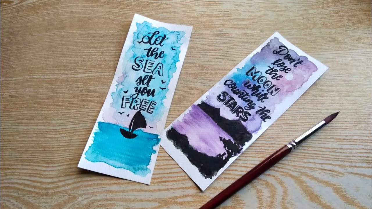 Easy DIY Bookmark Ideas with Quotes | Watercolor - YouTube