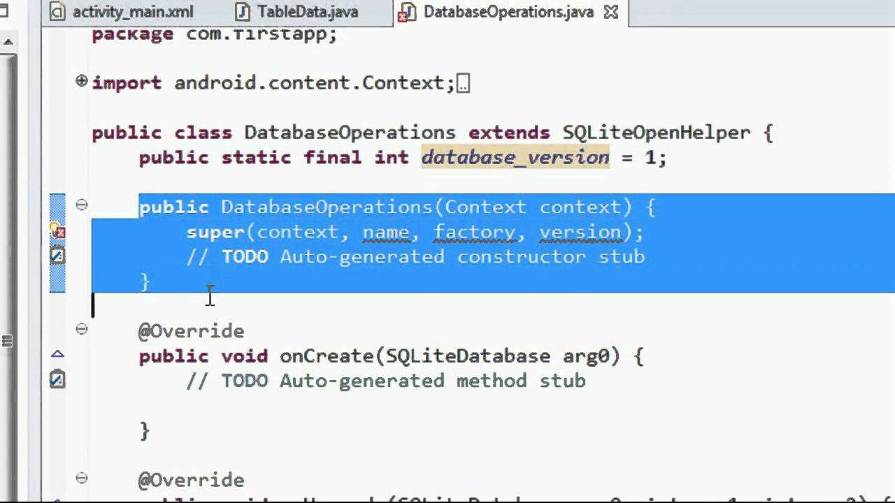 Android sqlite tutorial 1 create database and tables youtube android sqlite tutorial 1 create database and tables gamestrikefo Choice Image