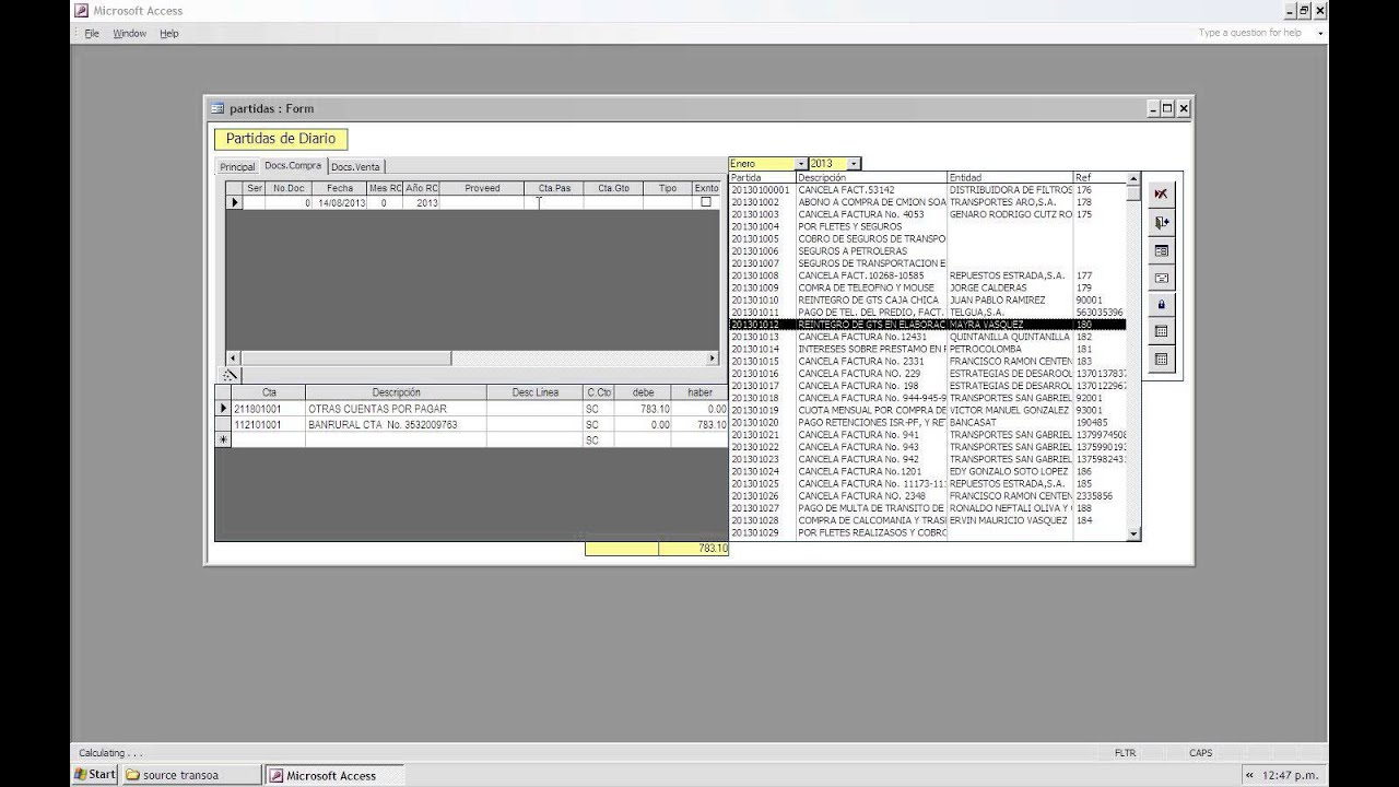 programa contabilidad desarrollado en microsoft access