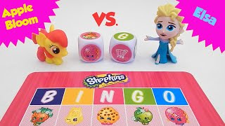 Apple Bloom and Elsa Play SHOPKINS Big Roll Bingo - Who Will Win?