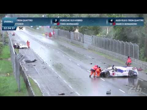 24h Le Mans 2014 Audi R18 #3 Toyota TS040 #8 Crash In Rain