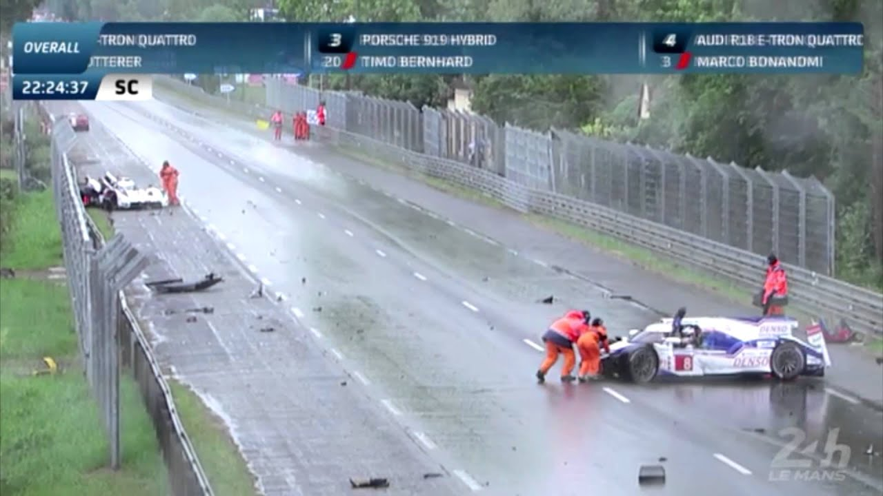 24h le mans 2014 audi r18 3 toyota ts040 8 crash in rain youtube. Black Bedroom Furniture Sets. Home Design Ideas