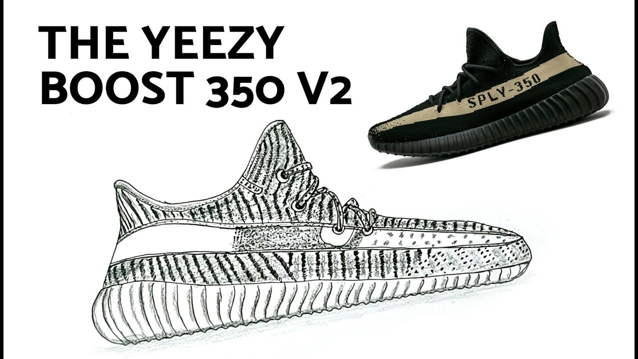 How to Draw Yeezy Boost 350 V2 Sneakers