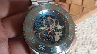 Relógio Android Automatico Skeleton Todo Aço Coroa de Rosca Ad56a