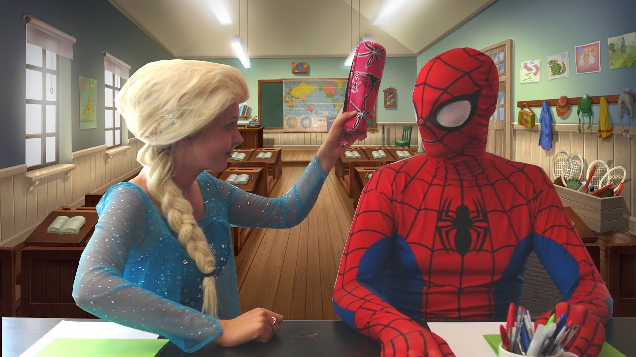 spiderman et la reine des neiges l 39 ecole spiderman triche l 39 examen nouveaut 2016 s e ep. Black Bedroom Furniture Sets. Home Design Ideas