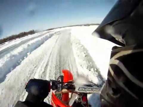 Manitoba Motorcycle Ice Racing- David Bezilla -  crf450r Honda