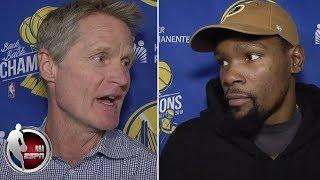 Kevin Durant and Steve Kerr talk Warriors' preseason loss vs Lakers | NBA Interview