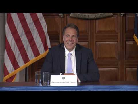 Gov. Andrew Cuomo discusses naming the new Tappan Zee Bridge after his father at 24:15-minute mark.