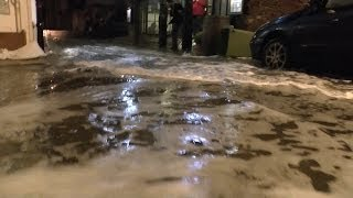 Bayards Cove, Lower Ferry Slip entrance at Dartmouth uk Flooded.