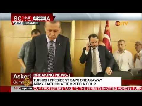 Turkish president Erdogan appears before supporters at Istanbul airport
