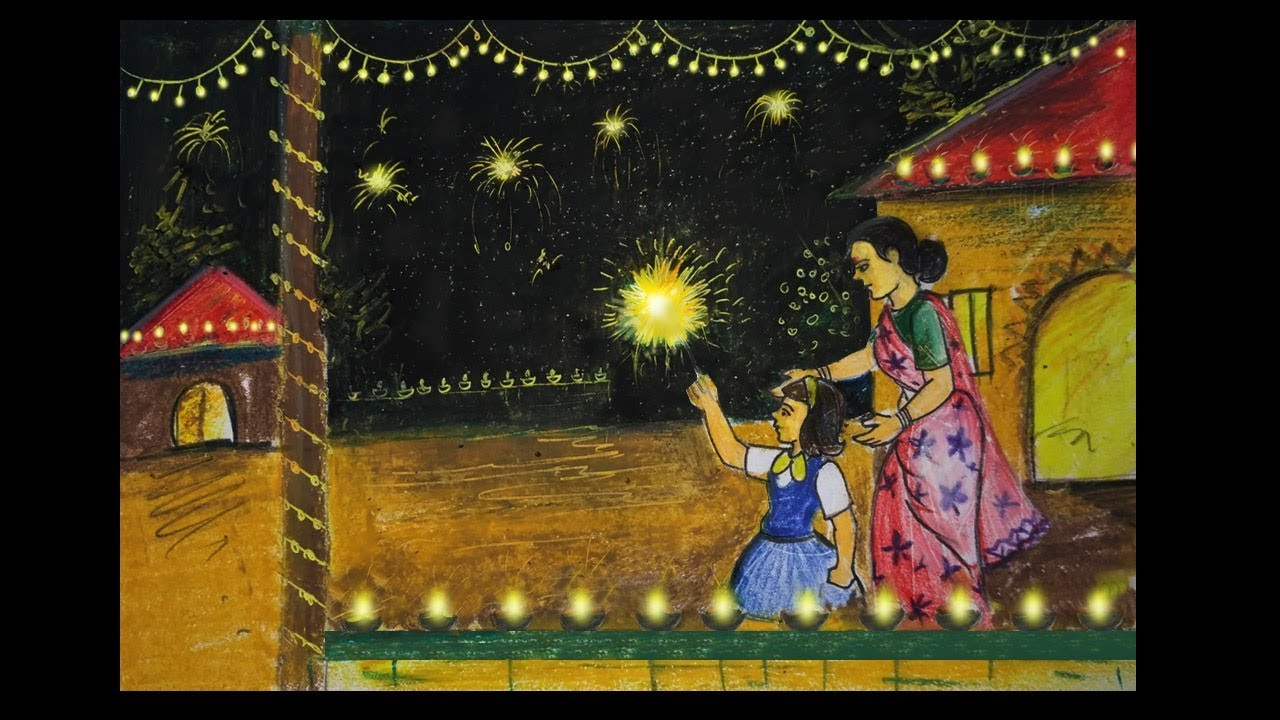 How to draw diwali festival scene step by step easy