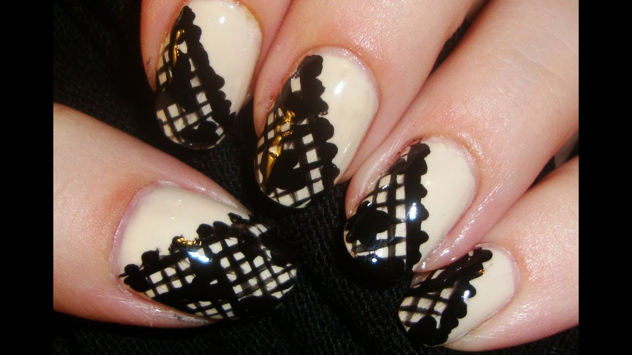 black lace nails - youtube