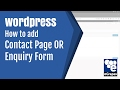 How to add Contact Form or Enquiry Form in Wordpress