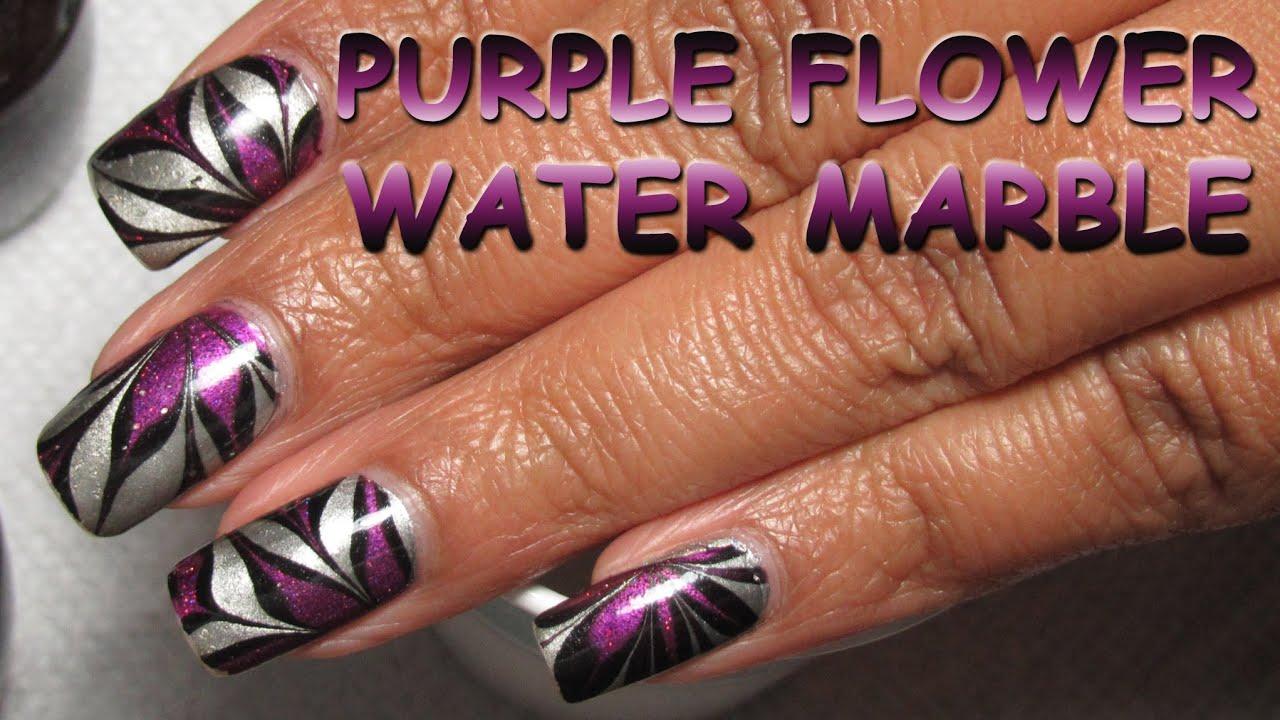 purple flower water marble nail